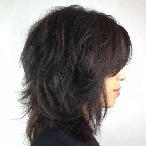Dark brown shag with bangs