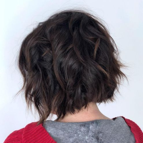 Dark brown textured bob
