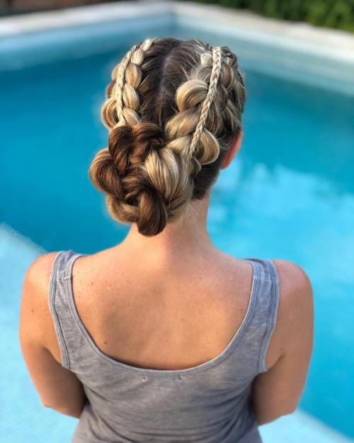 Double stacked braids into bun