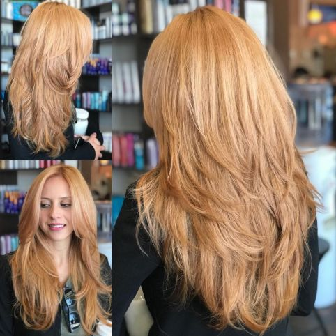 Feathered long haircut for thick hair