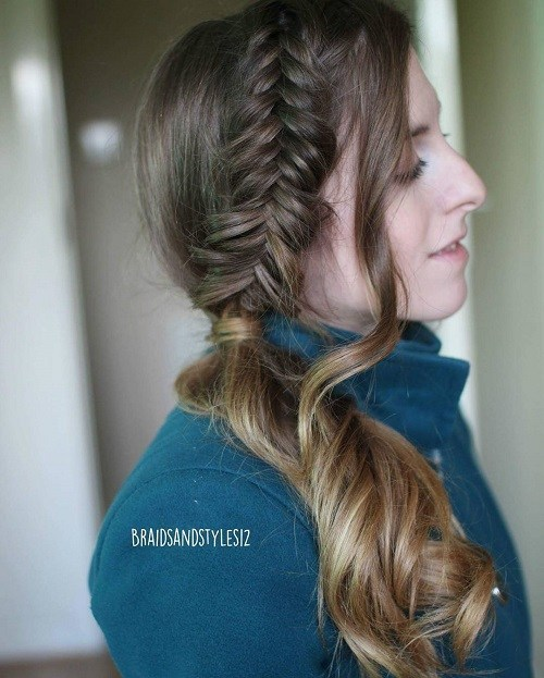 Fishtail and side curly ponytail