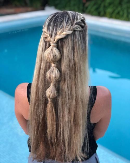 French braids and bubble braids