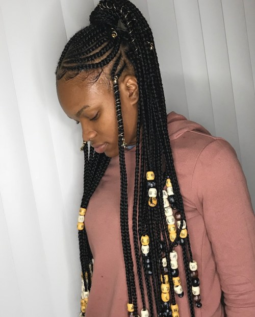 Fulani braids with a high ponytail