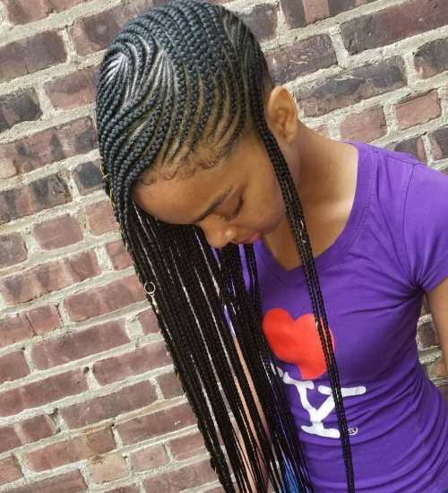 Full scalp patterned side braids