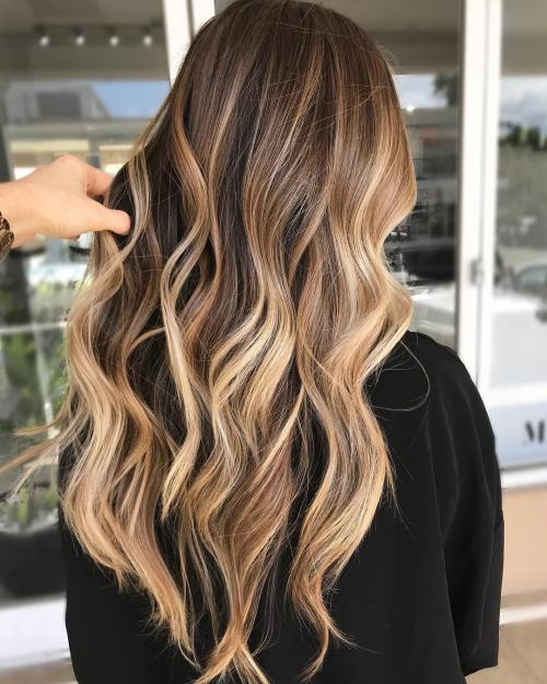 Golden bronde balayage for brown hair