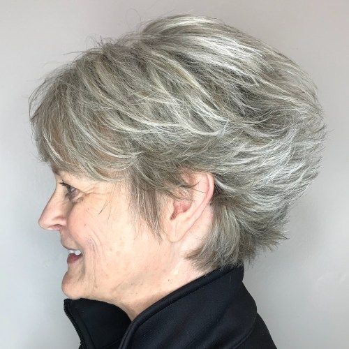 Gray feathered pixie for thick hair