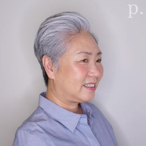 Gray tapered pixie with pompadour bangs