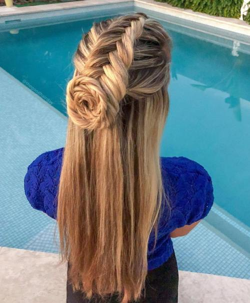 Half up fishtail style