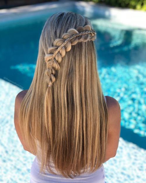 Half up stacked braid