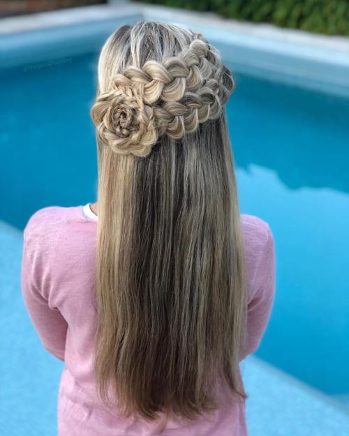 Half updo with braided flower
