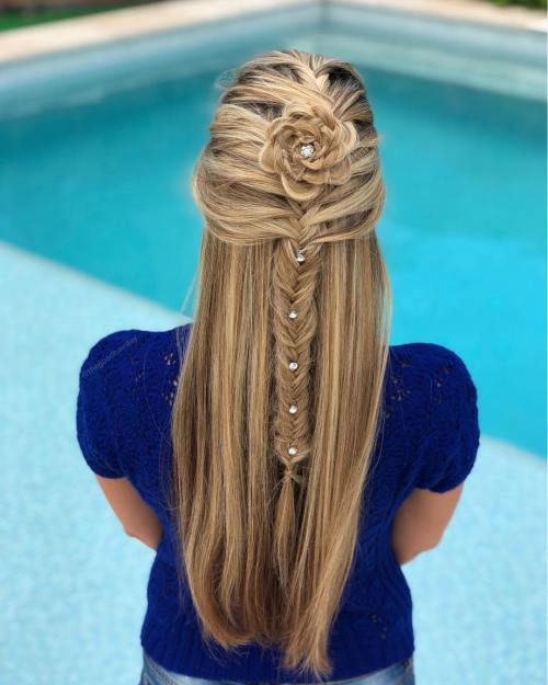 Half updo with fishtail flower braid