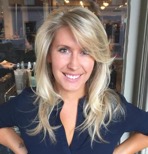 LAYERED HAIRCUT WITH SIDE BANGS FOR THIN HAIR