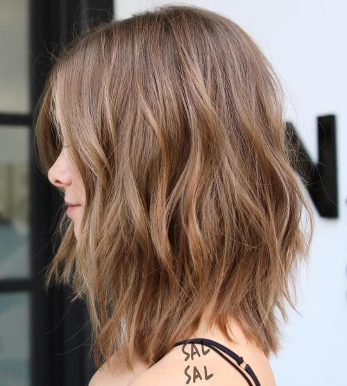 Light brown layered long bob
