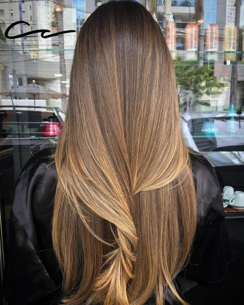 Llong caramel brown balayage hair