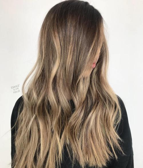 Long ash bronde balayage hairstyle