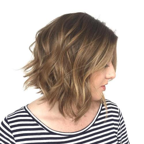 MEDIUM BROWN MESSY WAVY BOB