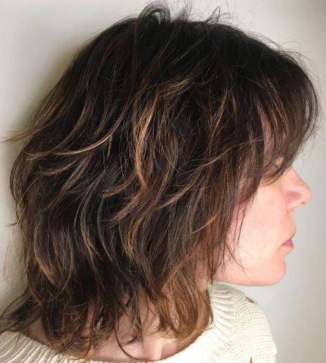 Medium brown shag with caramel highlights