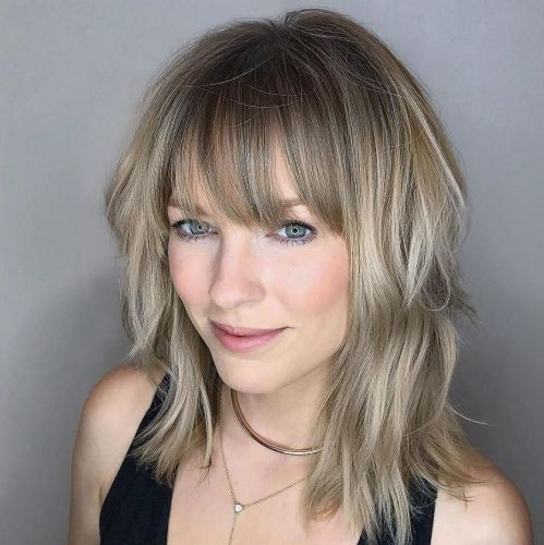 Medium layered cut with bangs
