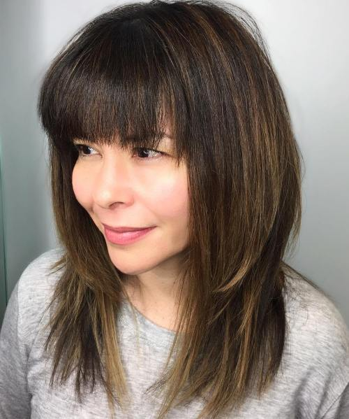 Medium layers with full bangs