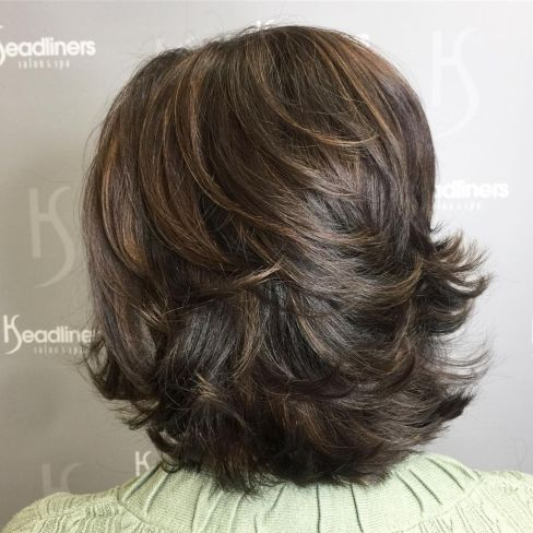 Midlength layered hairstyle