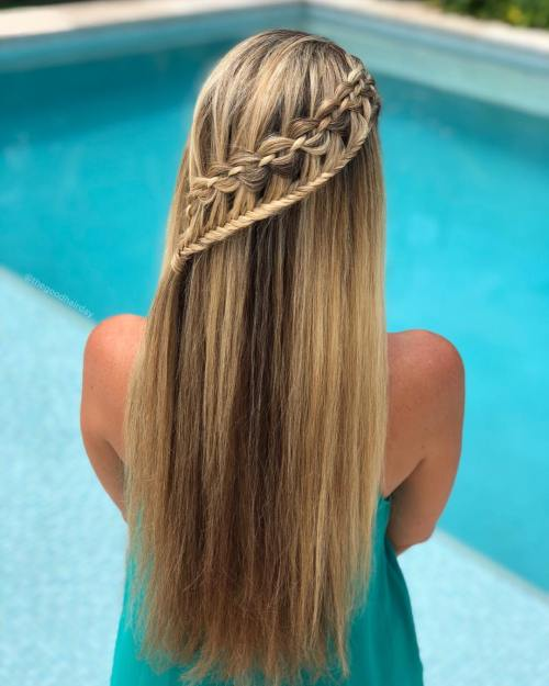 Mixed waterfall braids