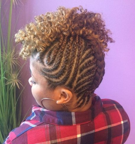 Natural braided updo with curly top