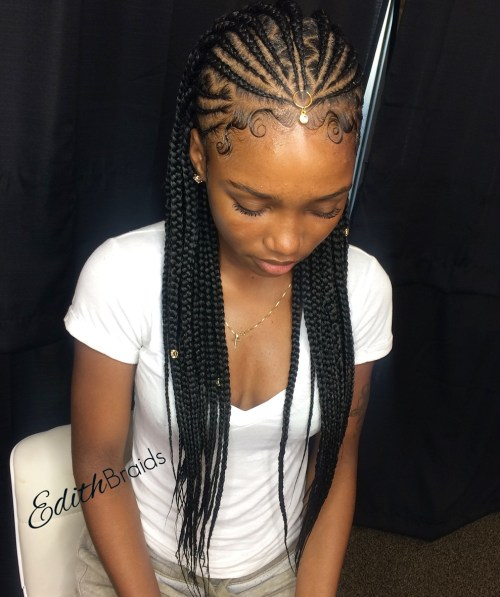 One point fulani braids with zigzag parts