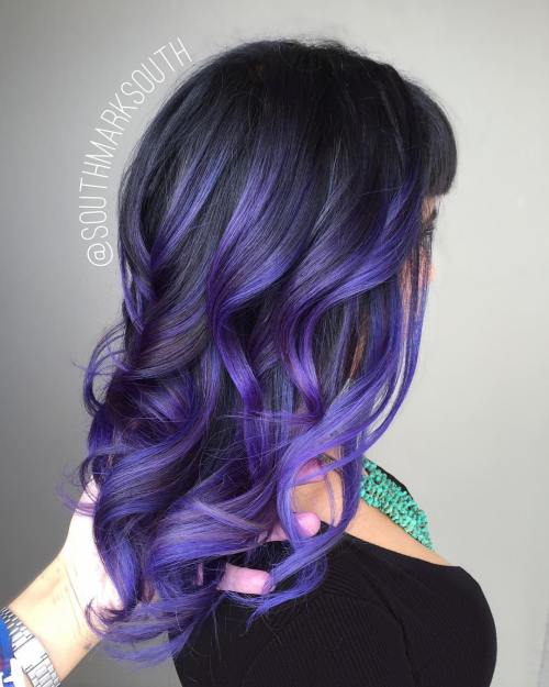 PASTEL PURPLE BALAYAGE FOR BLACK HAIR