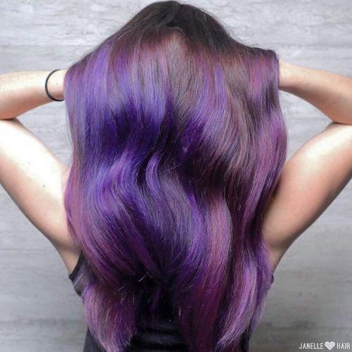 PURPLE BALAYAGE FOR LONG BROWN HAIR