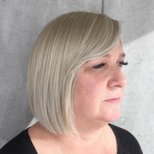 Platinum blonde bob for older women