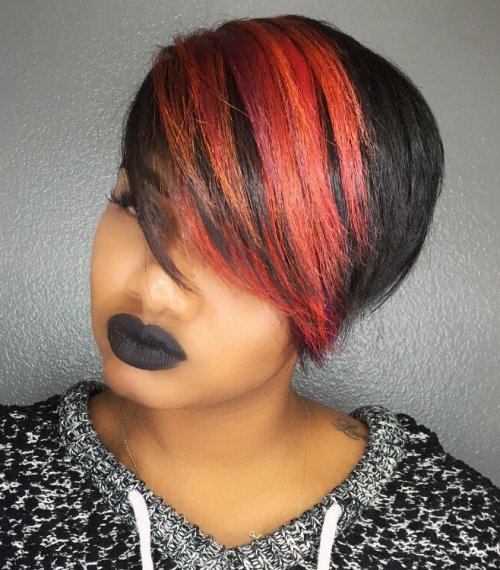 SHORT EMO HAIRSTYLE WITH BRIGHT BANGS