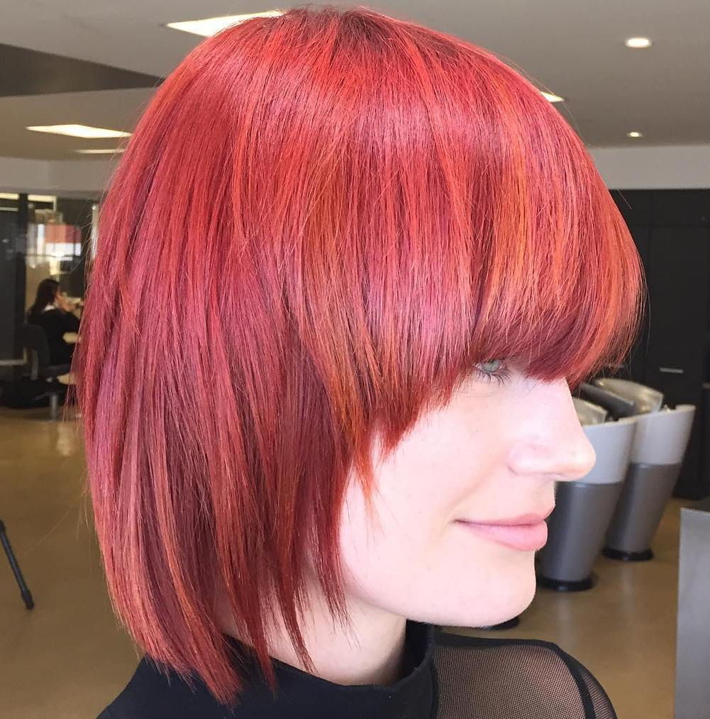 SHORT MAGENTA HAIR WITH RED HIGHLIGHTS
