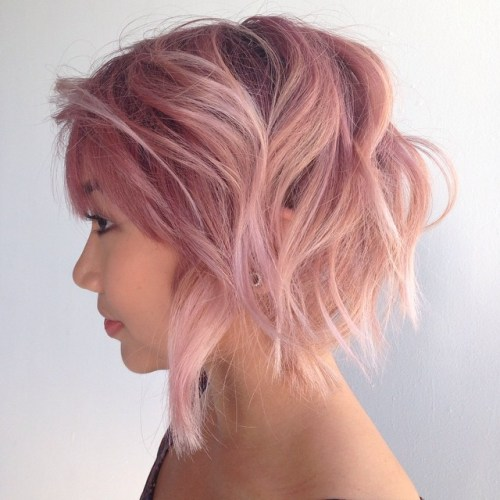 SHORT TEASED PASTEL PINK