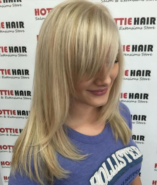SHOULDER LENGTH BLONDE HAIR WITH BANGS