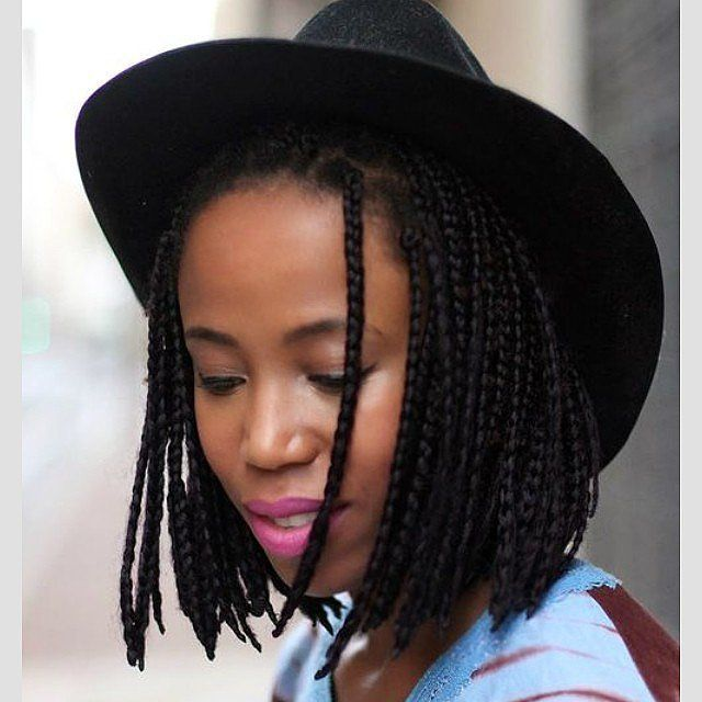 Short Braided Bob with Hat