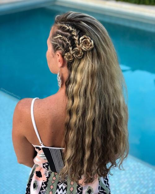 Side cornrows with flower braids