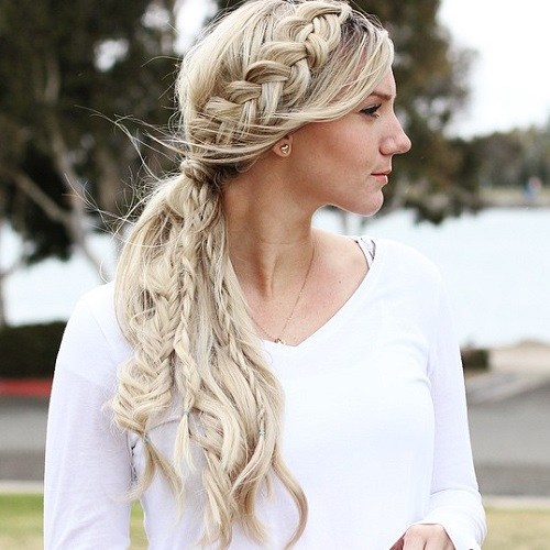 Side ponytail with a crown braid