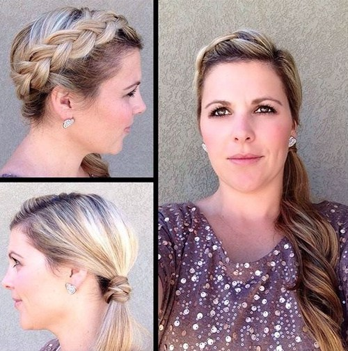 Sideparted ponytail with headband braid