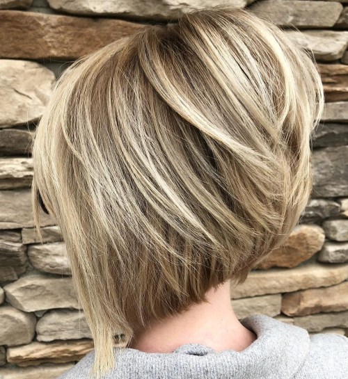 Stacked angled blonde balayage bob