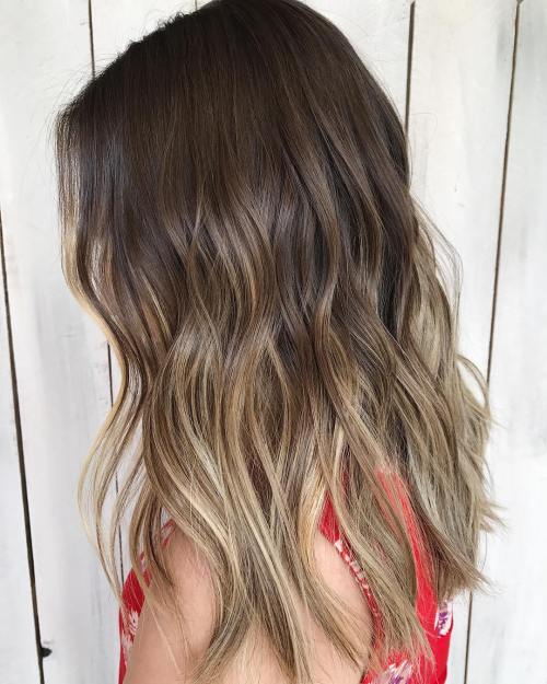Subtle light brown balayage for brown hair