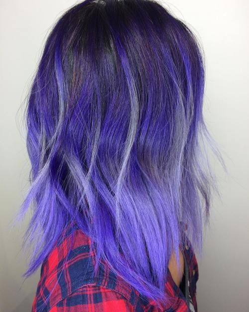 VIOLET OMBRE BALAYAGE FOR BRUNETTES