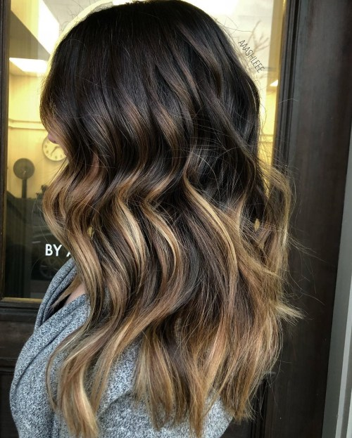 Varied brown balayage