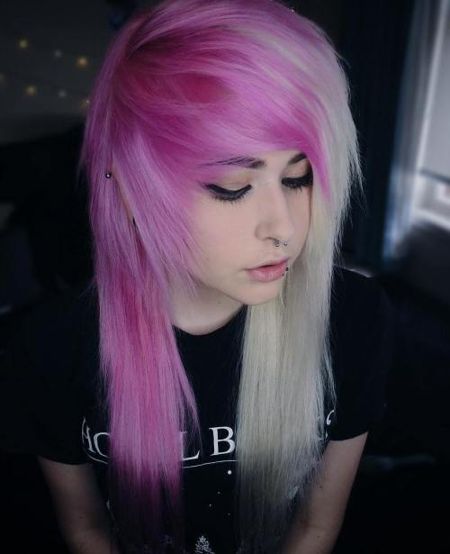 WHITE AND PINK EMO HAIRSTYLE