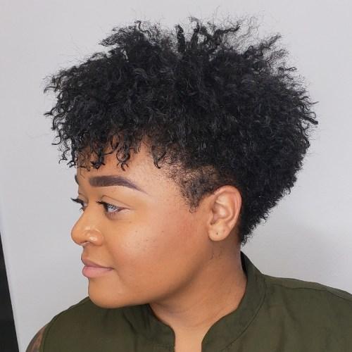 Womens curly taper cut