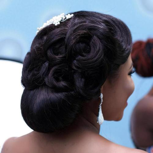 black formal wedding updo