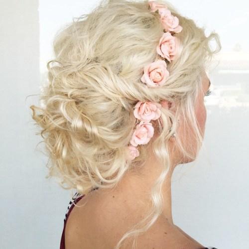 blonde curly wedding updo