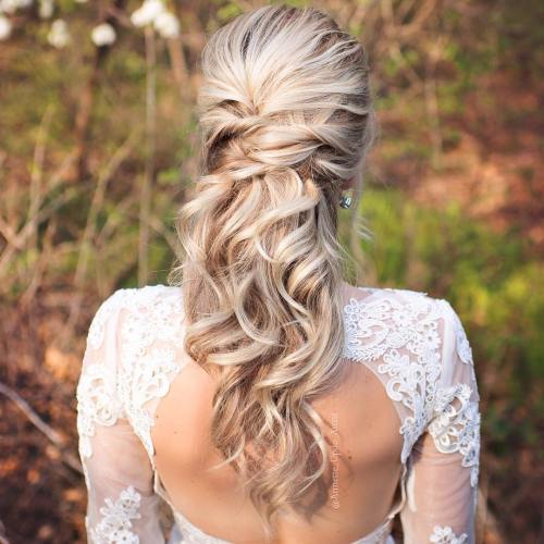 blonde wavy half updo for brides