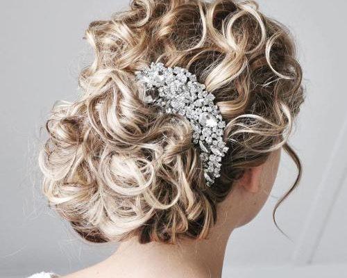 bridal bronde curly updo