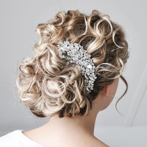 bridal bronde curly updo