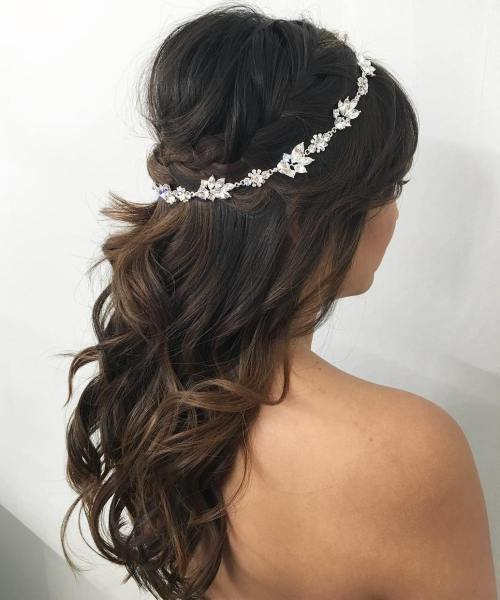 bridal curly bouffant half updo